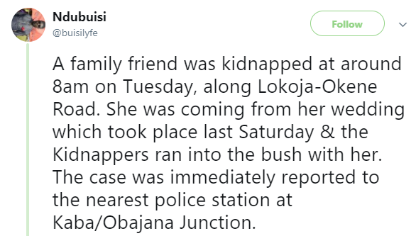 Kidnappers abduct 4-months pregnant lady returning from her wedding