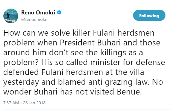 How can we solve killer Fulani herdsmen problem when President Buhari and those around him don?t see the killings as a problem? - Reno Omokri