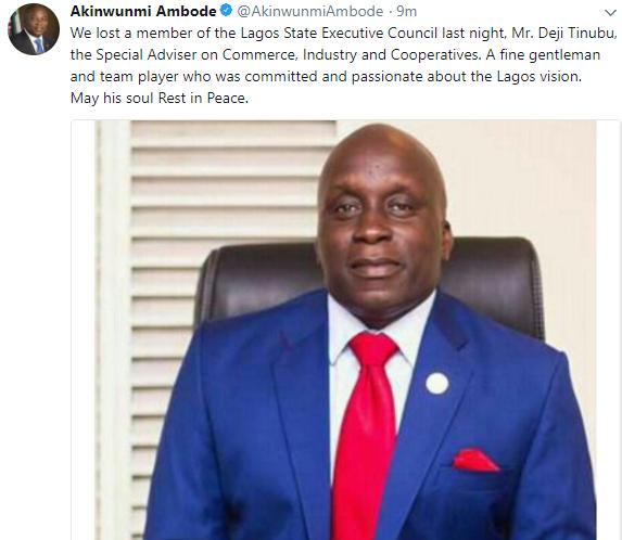 Governor Ambode mourns Deji Tinubu who died suddenly yesterday