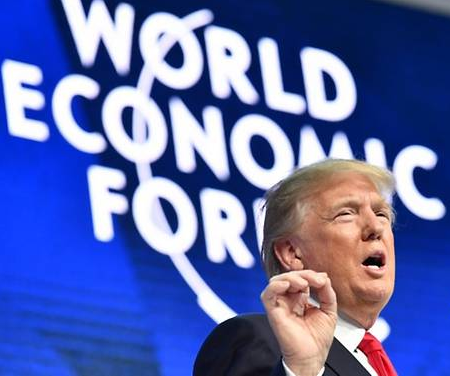 """America first does not mean America alone"": Trump to world leaders at Davos"