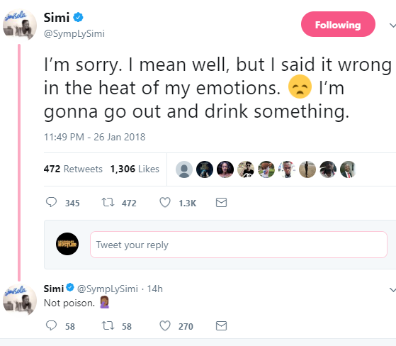 Singer, Simi forced to delete her tweets in support of Dorcas Fapson after Nigerians dragged the heck out of her
