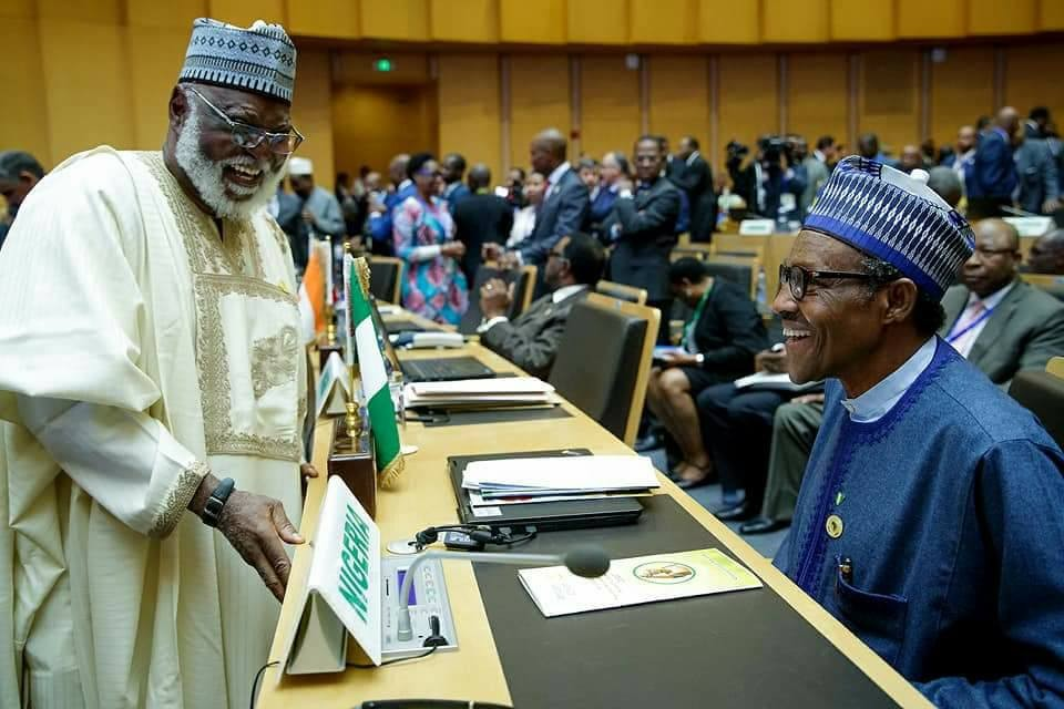More happy photos of President Buhari and Obasanjo laughing at AU Summit