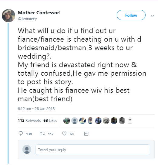 Nigerian man catches his fianc?e in bed with his best man 3 weeks to their wedding
