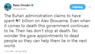 Reno Omokiri reacts to the news that the present administration has spent N1 billion on Alex Ekwueme