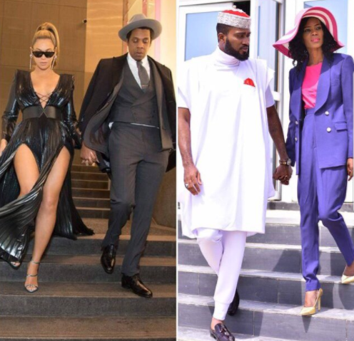 Who rocked the pose better? Jay Z and Beyonce or Ohimai Amaize and his wife Tessy