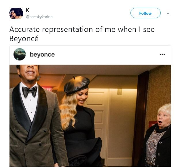 Twitter users react to this photo of a granny staring at Jay-Z and ?Beyonc? in shock (Photos)