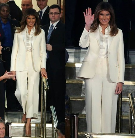 First lady, Melania Trump rocks white pantsuit to her first State of the Union 30