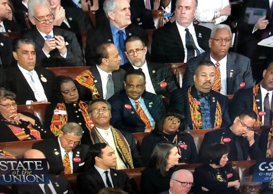 Photos: Black members of congress attend the US State of the Union address with some Kente material on their outfits