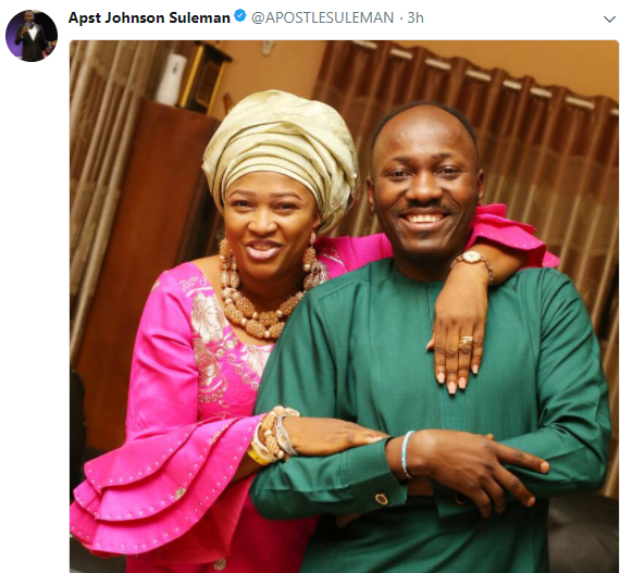 Apostle Suleman shares lovely photo of himself and his wife, Lizzy