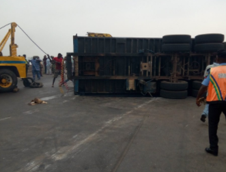 Baby killed after trailer rams into a motorcycle his mother was riding on along Lagos-Ibadan expressway