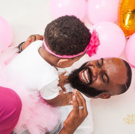 Noble Igwe shares adorable photo with his daughter on her 1st birthday