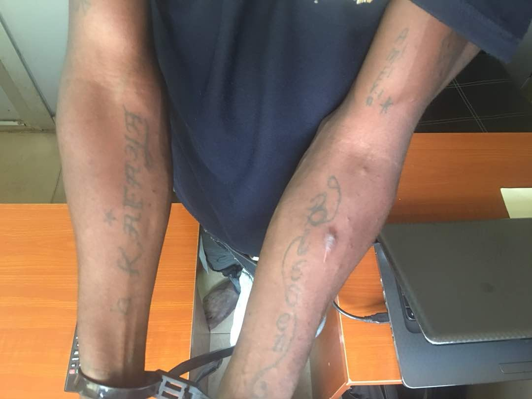 Oshodi phone thief tattoos names of different ladies he had sex with (photos)