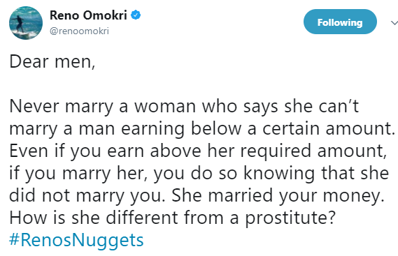 """""""How is a woman who married you for your money different from a prostitute?"""" Reno Omokri asks men"""