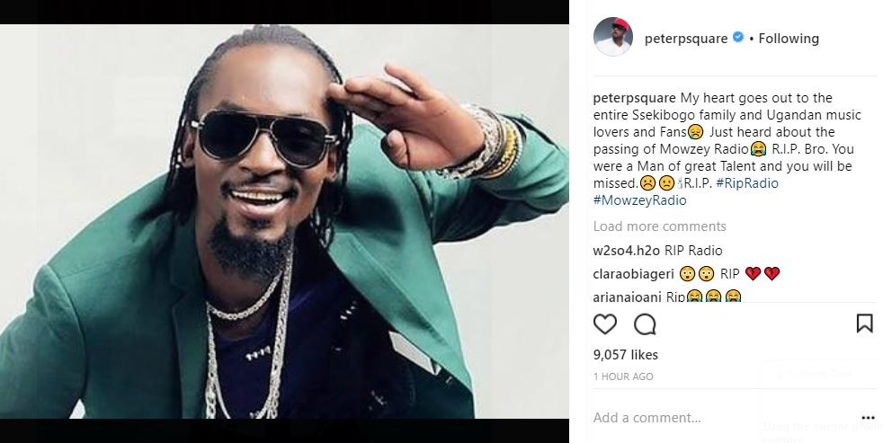 Paul and Peter Okoye pay tribute to Ugandan singer, Mowzey Radio, who died this morning after he was beaten into a coma