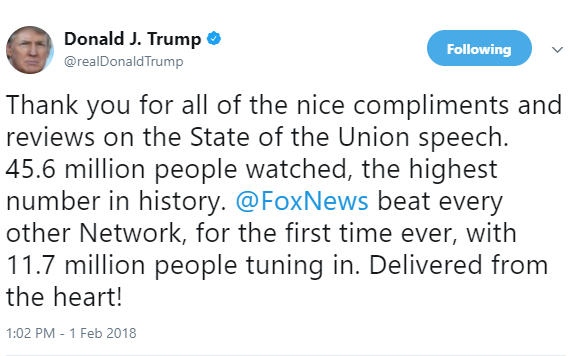 "President Trump applauds himself for delivering his first State of the Union speech ""from the heart"""