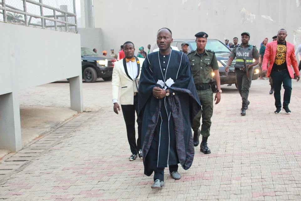 Apostle Johnson Suleman steps out in a replica of Ebuka