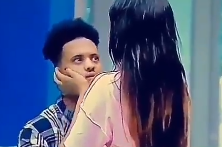 #BBNaija2018 housemate, Rico, looked terrified as his female housemate, Princess, tried to kiss him(video)