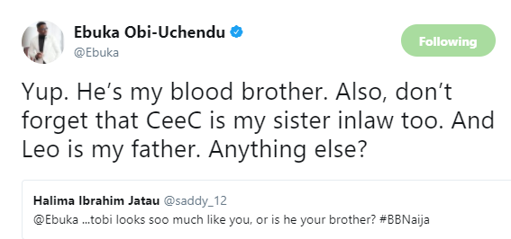 Ebuka reacts to claims that BBNaija housemate, CeeC, is his sister in-law and Tobi Bakre is his brother....lol
