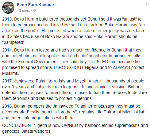 '' Nigeria is now owned by barbaric ethnic supremacists and genocidal Jihadi warlords'' FFK says