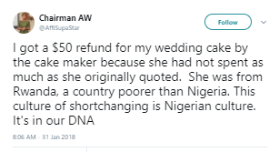 """This culture of shortchanging is Nigerian culture, Nigerians are theives"" Lady says after she got a $50 refund from a Rwandan woman"