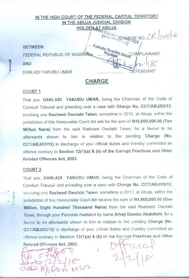 EFCC drags CCT chairman, Umar Danladi, to court over alleged N11.8m bribe