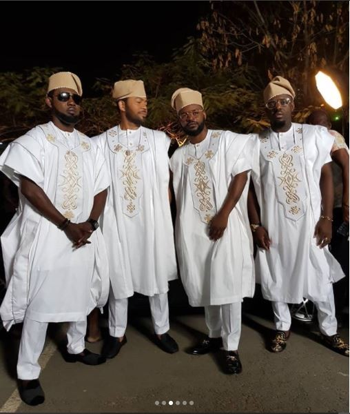 'Yoruba Demons': AY, Ramsey Noah, Falz & Jim Iyke show off their swag in matching white Agbada  (Photos)