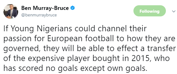 Ben Bruce trolls president Buhari using football