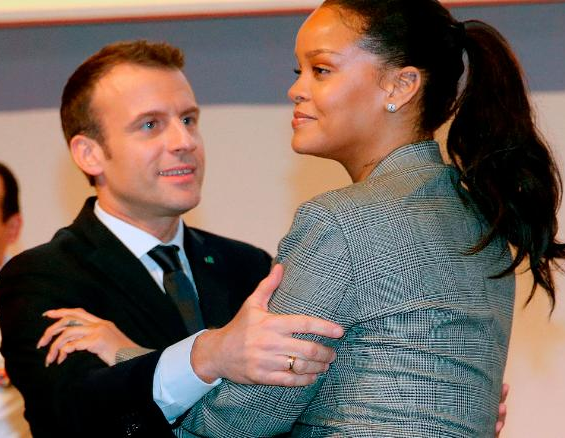 The way?French President, Emmanuel Macron was looking at Rihanna in this photo though!