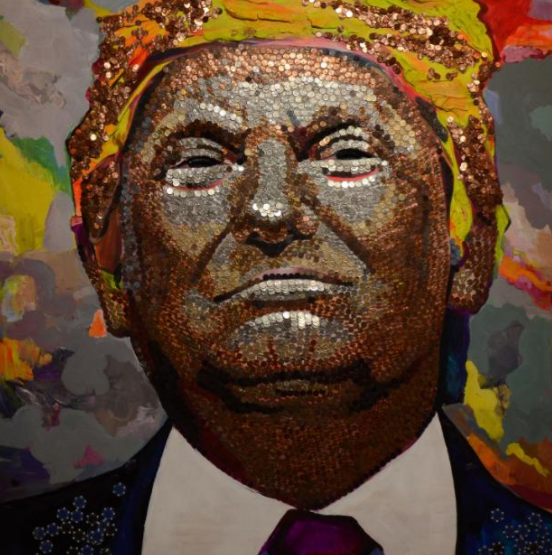 There's a 7-foot portrait of President Trump literally made of money in New York