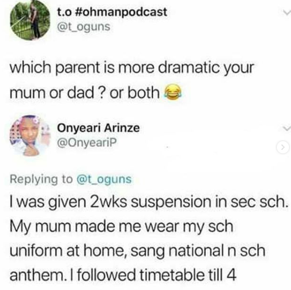 Lol! Which parent is more dramatic?? Here are some of the hilarious responses on Twitter