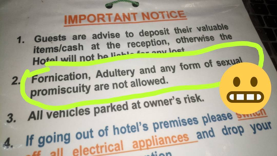 Hotel in Gombe state warns guests against fornication, adultery and promiscuity