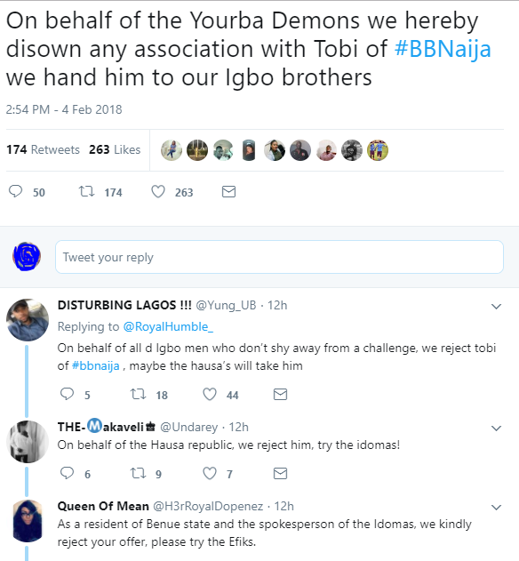 Checkout the hilarious reactions from Nigerians after BBN housemate, Tobi spent hours begging Cee-C to forgive him for accepting a lap dance from Anto