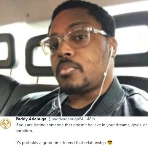Paddy Adenuga gives relationship advise