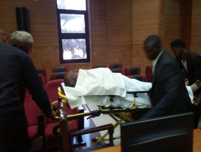 See how Nigerians on social media are reacting to Olisa Metuh being brought into court today on a stretcher