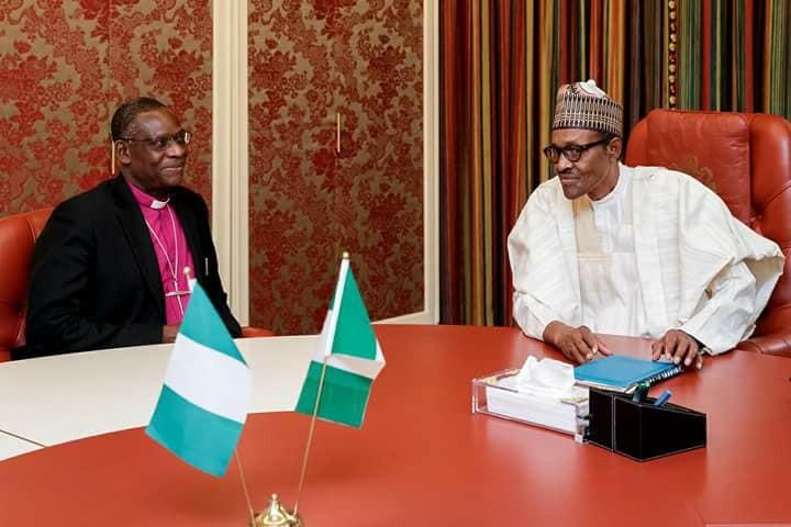 President Buhari receives?Archbishop Josiah Idowu Fearon in the state house