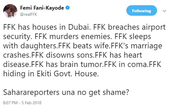 Femi Fani Kayode has a question for Sahara Reporters!
