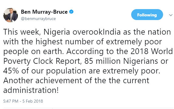 Nigeria overtakes India as the nation with the highest number of extremely poor people on earth - Ben Bruce