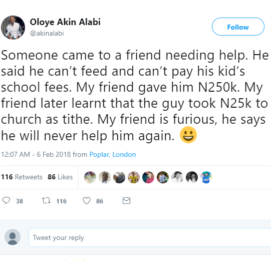 Man vows never to give money to friend after he found out the friend he gave 250k paid 10% as tithe