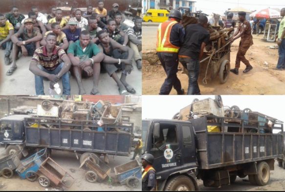 Lagos State government arrests 200 cart pushers