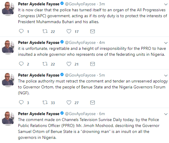 Governor Fayose condemns Police PRO, Jimoh Moshood for referring to Benue governor as a