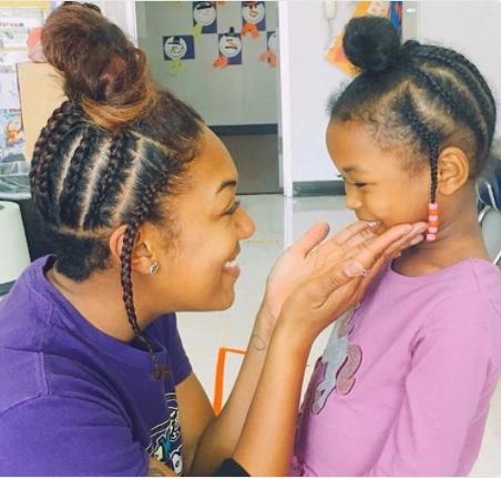Teacher styles her hair like her student