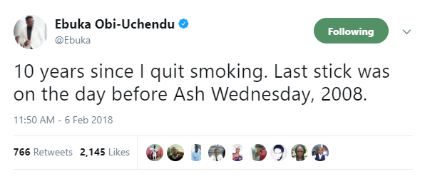 Ebuka Obi-Uchendu celebrates 10 years since he quit smoking..