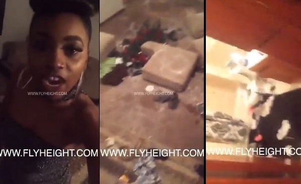 Jealous boyfriend breaks into girlfriend's home & damages her properties for going out to a party looking so sexy (Video)
