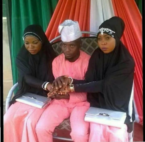 The look on their faces as man gets married to two women at the same time (Photo)