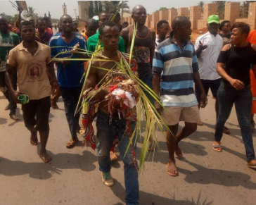 Photos/Videos: Man accused of tying the pregnancy of a woman, banished from community in Anambra