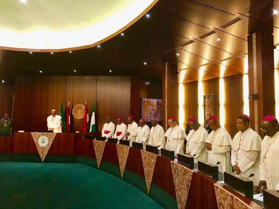 Photos: President Buhari receives Catholic Bishops at the state house