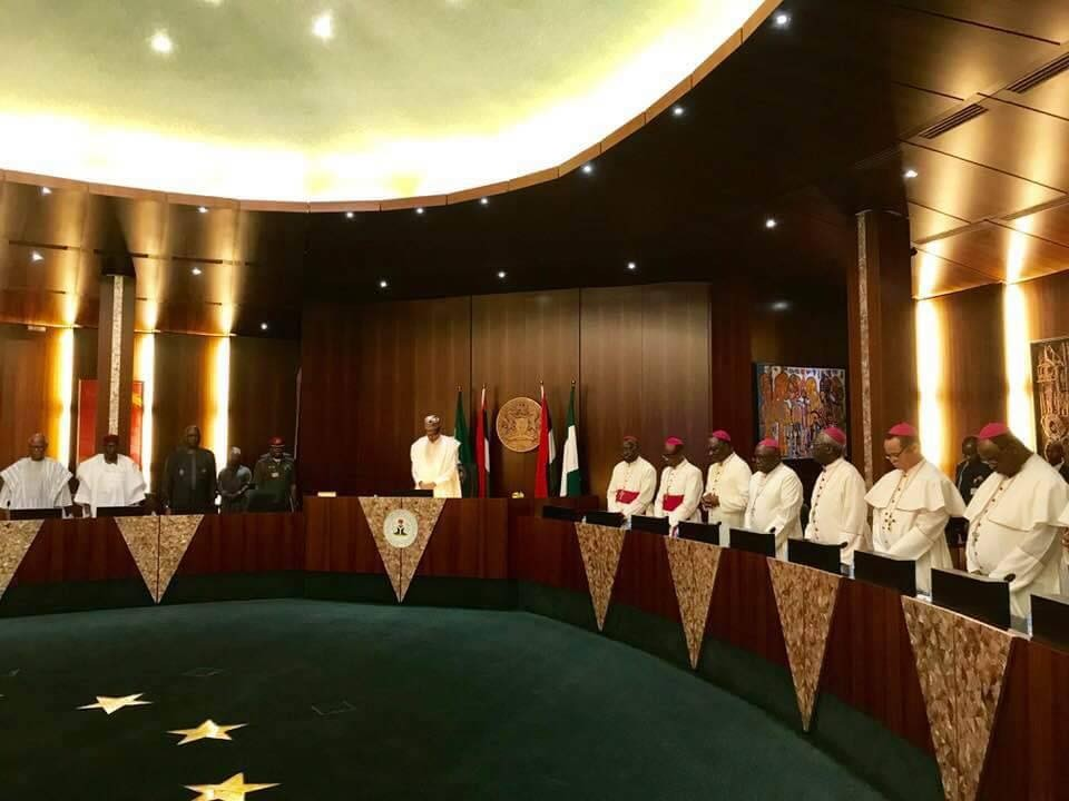 Photos: President Buhari receives Catholic Bishops at the state house