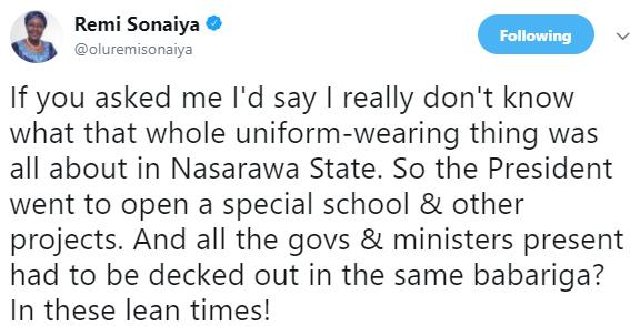 KOWA presidential candidate, Remi Sonaiya trolls president Buhari over his recent visit to Nasarawa state