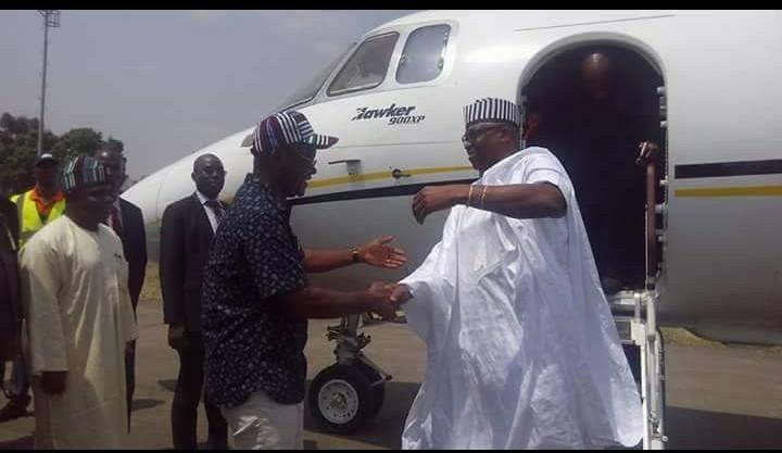 Photos: Governor Fayose pays condolence visit to Benue state governor, Samuel Ortom