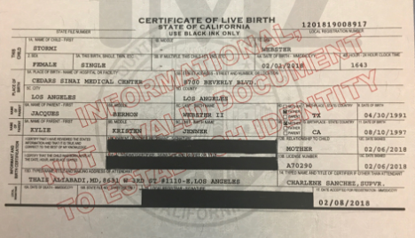 Kylie Jenner?s daughter, Stormi, does not have a middle name...See her birth certificate (photo)